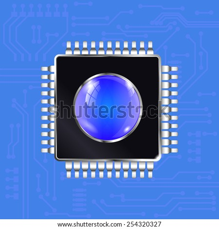 Processor with electronic circuit board background - vector drawing. - stock vector