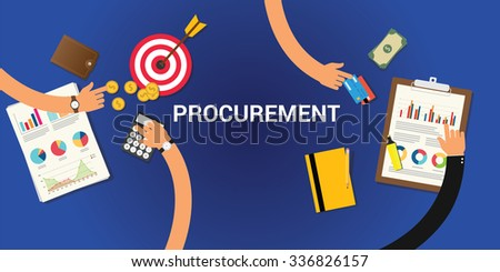 procurement concept with money and graph chart analysis - stock vector
