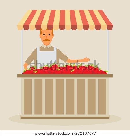 Produce shop keeper. Fruit and vegetables retail business owner working in his own store. Flat illustration. EPS 10 vector. - stock vector