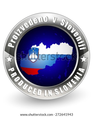 Produced in Slovenia label with a Slovenia map. Vector icon. - stock vector