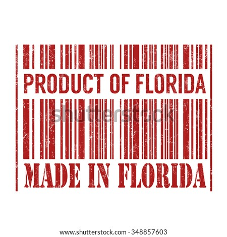 Product of Florida, made in Florida barcode grunge rubber stamp on white background, vector illustration - stock vector