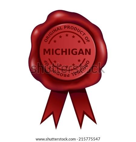 Product Of Michigan Wax Seal - stock vector