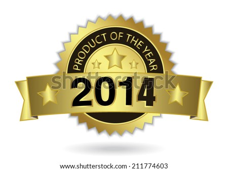 Product of the year 2014 - Award golden badge. - stock vector