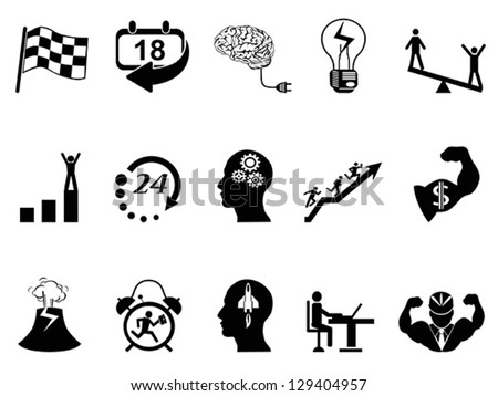 Productive at work icons - stock vector