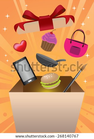 Products and merchandise flying out of gift box with vibrant sunburst background. Conceptual vector graphic design for promotion and marketing event for retail business. - stock vector
