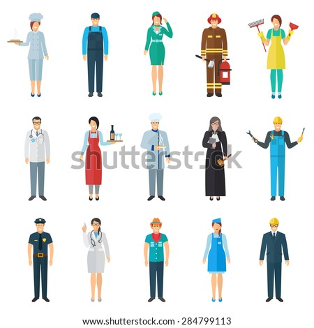 Profession and job avatar with standing people icons set flat isolated vector illustration  - stock vector