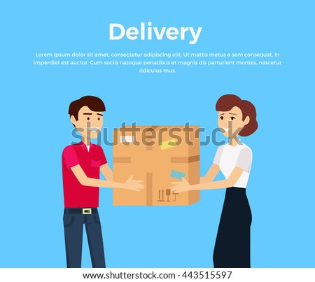 Profession courier with box. Delivery man, delivery icon, free delivery, delivery parcel, service delivery, person profession character courier postman. Courier gives box a woman. Vector illustration - stock vector
