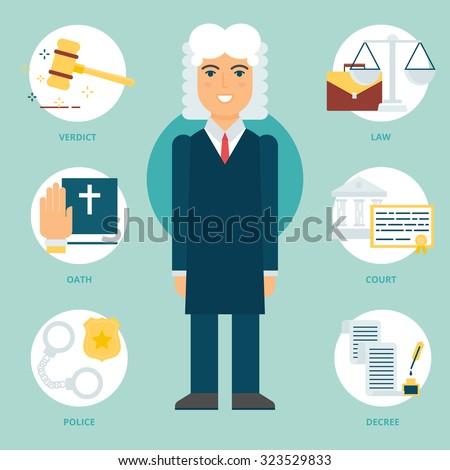 Profession: Judge. Vector illustration, flat style - stock vector