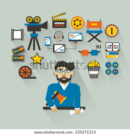 Profession of people. Flat infographic. Filmmaker  - stock vector