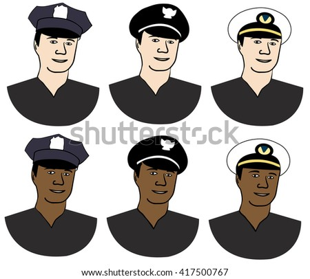 Profession people, avatars. police officer,Navy Officer. White and black man. - stock vector