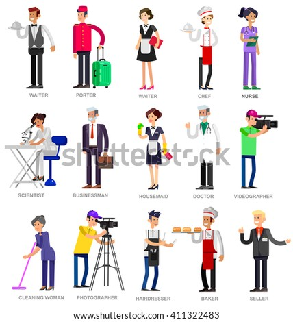 Profession people. Detailed character professionals . Illustration of character Profession people. Vector flat Profession people Profession people. Detailed character professionals - stock vector