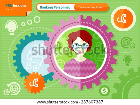 Profession series concept for banking personnel with beautiful woman call-center employee in glasses and headset in circle frame on green with communication pictograms background - stock vector