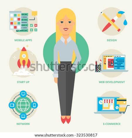 Profession: Web developer. Vector illustration, flat style - stock vector