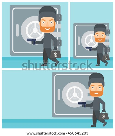 Professional burglar in mask near the big safe door. Burglar holding hand gun and a bag with dollar sign. Thief stealing money. Vector flat design illustration. Square, horizontal, vertical layouts. - stock vector
