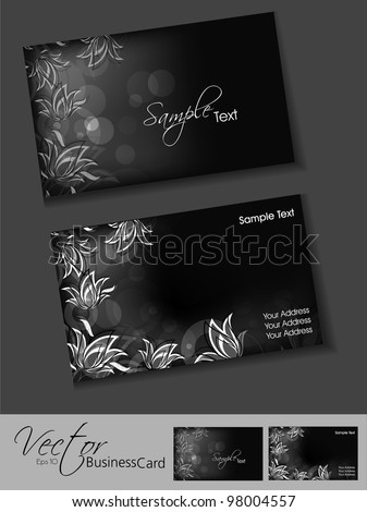 Professional business card or visiting card set, floral design in black and grey, EPS 10,vector illustration easy to edit. - stock vector