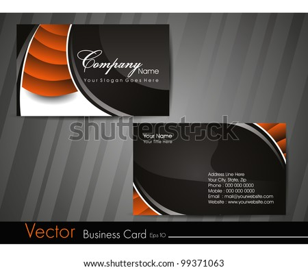 Professional business card set, template or visiting card. Artistic, abstract corporate look in orange and black colors, EPS 10 Vector illustration. - stock vector