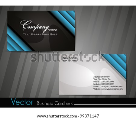 Professional business card set, template or visiting card. Artistic, abstract corporate look in black and blue colors, EPS 10 Vector illustration. - stock vector
