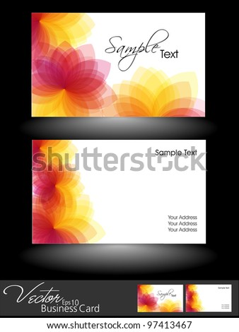 Professional business cards or visiting card set,  floral design in red, yellow and pink color, eps 10, vector illustration easy to edit. - stock vector