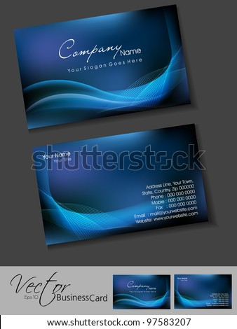 Professional business cards, template or visiting card set. Artistic wave effect, blue color, abstract corporate look, EPS 10 Vector illustration. - stock vector