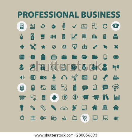 professional business icons set, vector - stock vector