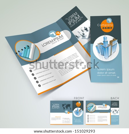 Professional business three fold flyer template, corporate brochure or cover design in blue color, can be use for publishing, print and presentation.  - stock vector