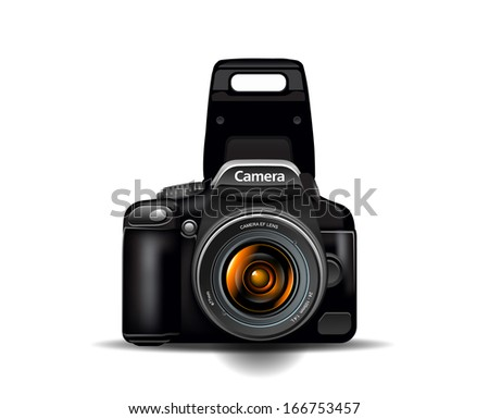 Professional camera, photocamera, vector illustration - stock vector