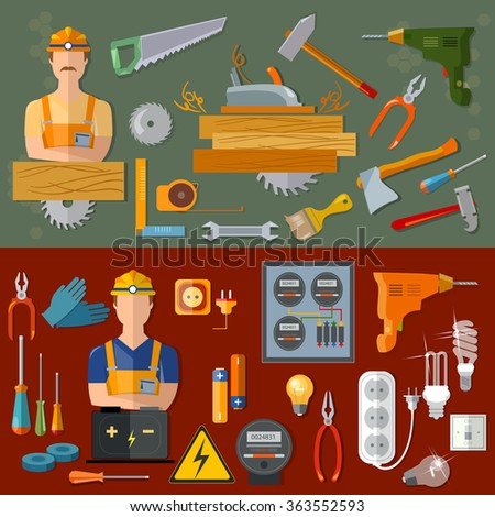 Professional carpenter and professional electrician professions vector banners - stock vector