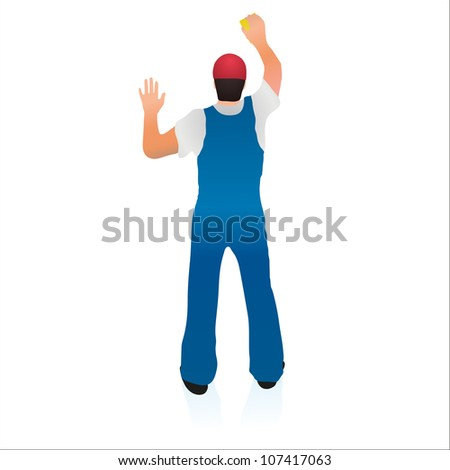 Professional cleaner wiping the wall - stock vector