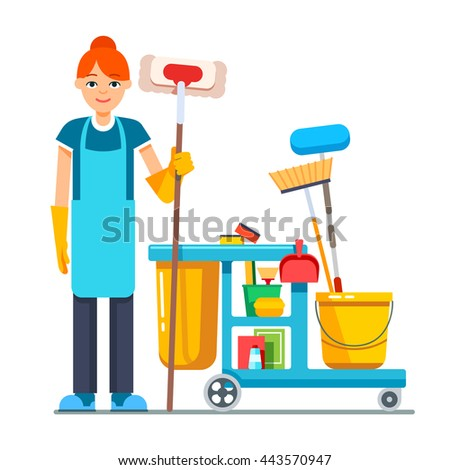 Professional cleaner woman with janitor cart full of supplies and equipment. Flat style vector illustration isolated on white background. - stock vector