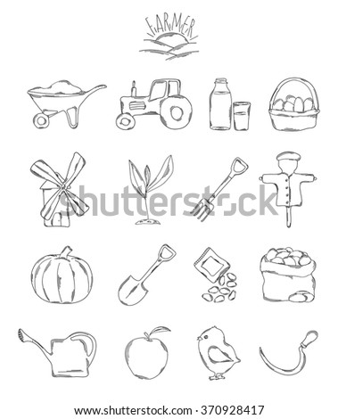 Professional collection of icons and elements. A set of farmer, farm hand drawn elements / doodles isolated on white background. Vector illustration - stock vector