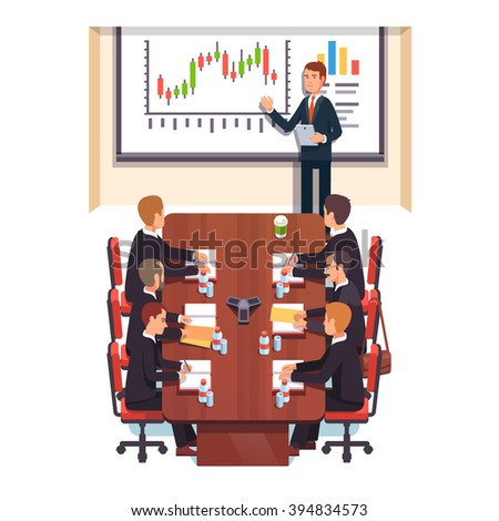 Professional consultant giving a speech to a business people in a conference room. Flat style color modern vector illustration. - stock vector