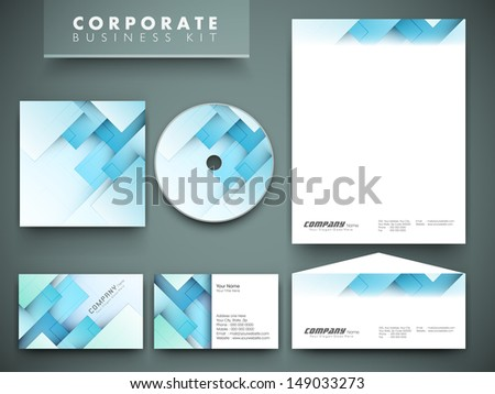 Professional corporate identity kit or business kit for your business includes CD Cover, Business Card, Envelope and Letter Head Designs.  - stock vector