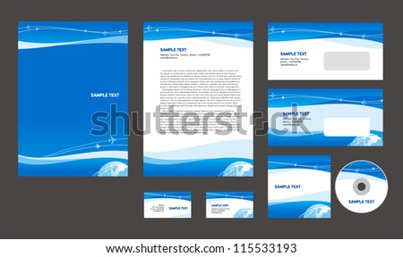 Professional corporate identity layout design template airplane takeoff flight tickets air fly cloud sky blue white color travel background business style - stock vector