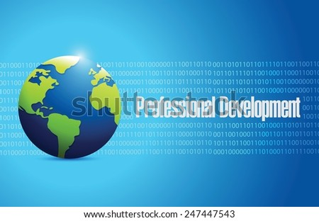 professional development globe illustration design over a blue binary background - stock vector
