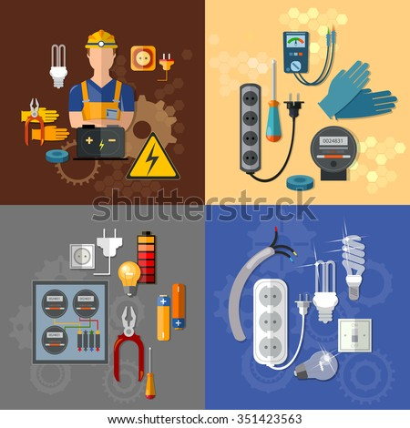 Professional electrical electricity energy electric man in yellow hard hat electrical household supplies vector set - stock vector