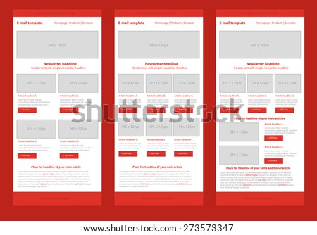 Professional flat style newsletter red template - stock vector
