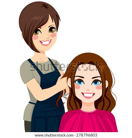 Professional hairdresser working cutting long curly hair to beautiful brunette girl - stock vector
