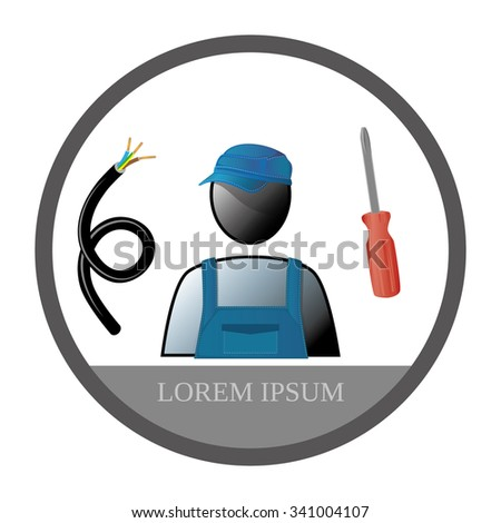 professional icon in the ring - Electrician in overalls - stock vector