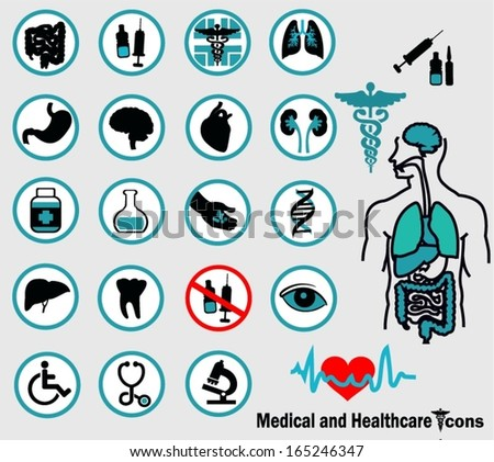 Professional Medical and Healthcare Icons - stock vector