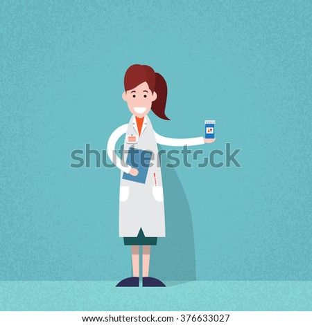 Professional Medical Doctor Woman Pharmacist Hold Pills Flat Vector Illustration - stock vector