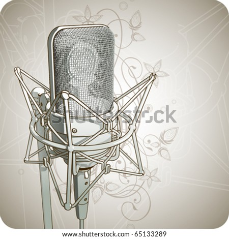 Professional Microphone & floral ornament - vector - stock vector