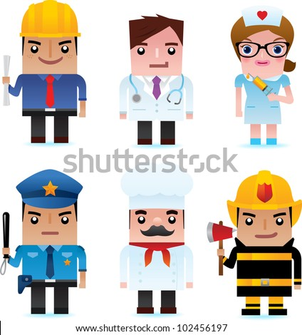 Professional occupation icons including engineer, doctor, nurse, policeman, chef, fire officer - stock vector