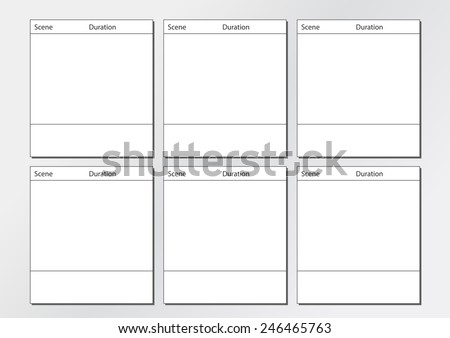 Professional of film storyboard template for easy to present the process of story. Special use for 4K  ,HD, The Film Aspect ratios is 4:3 - stock vector