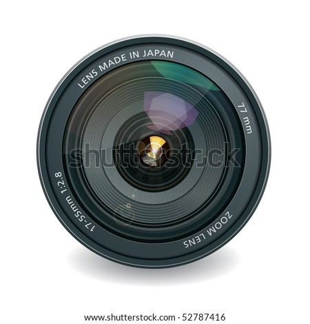 Professional photo lens, isolated on white - stock vector