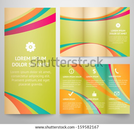 Professional three fold business flyer template, corporate brochure or cover design, for publishing, print. Vector illustration for retro vintage design. Tri-fold with icons. - stock vector