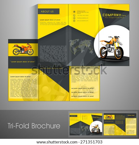 Professional trifold brochure, catalog and flyer for transport business. - stock vector