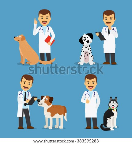 Professional vet doctor with dogs. Veterinarian colored icons on blue background. Vector illustration - stock vector