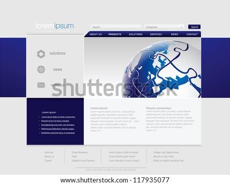 Professional website template in editable vector format - stock vector