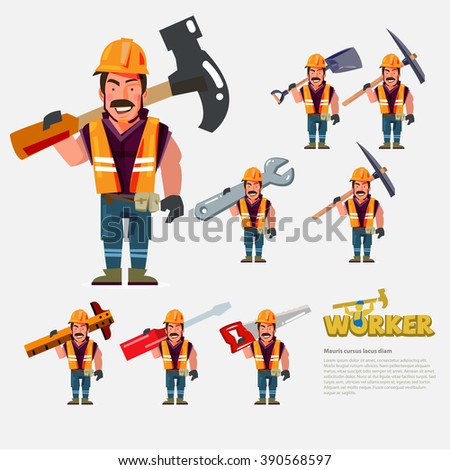 Professional worker carry work tools on the back. character design - vector illustration - stock vector
