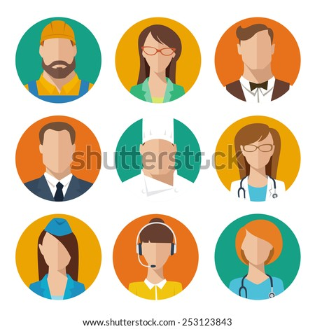 Professions flat vector characters - stock vector